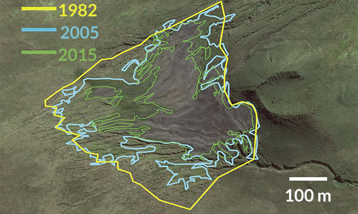 a sattelite image of the Île aux Cochons showing the shrinking boundary of the penguin colony over time