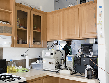 a photo of monitoring equipment in a kitchen