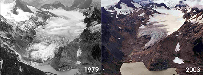 two aerial photos of the South Cascade glacier showing how much the glacier shrank from 1979 to 2003
