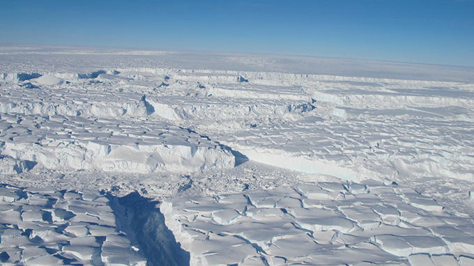 a photo of the Thwaites ice sheet in Antarctica