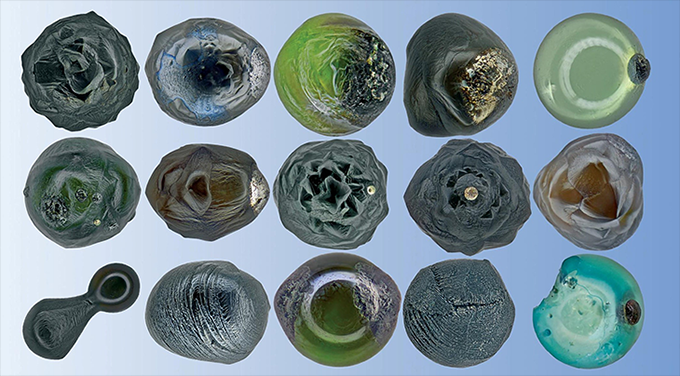 a photo of various micrometeorites