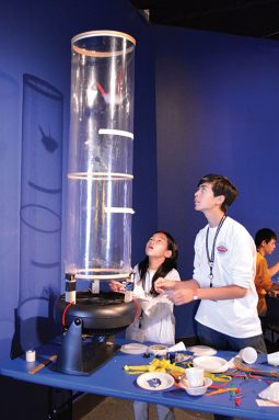 Students participate in a wind tunnel challenge at the Maryland Science Center in Baltimore. Engineers on site helped walk Broadcom MASTERS finalists through several activities. Credit: