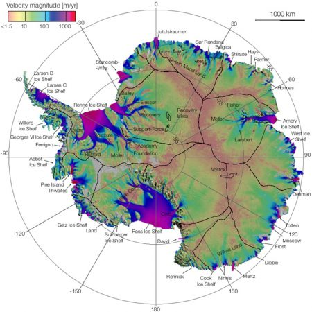 Most of Antarctica's ice sheet is made up of slow-moving ice. This ice generally moves no more than a few meters, or tens of meters per year. But in some places there are corridors of ice that flow much more quickly. These rivers of ice, called ice streams, or glaciers, often flow hundreds of meters per year. In this map, the Antarctic Ice Sheet is color-coded according to how quickly the ice flows. The fast-flowing ice streams appear in blue or purple. Credit: Eric Rignot, NASA/JPL/UCI