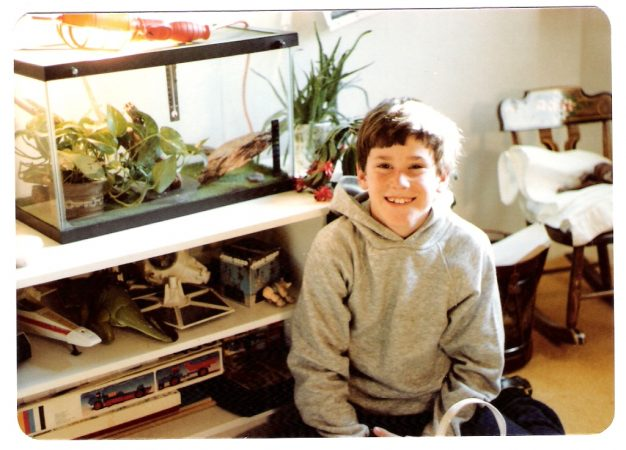 Dan Goldman at age 12, in front of his pet lizard's cage. Today, this Georgia Tech physicist still loves watching the way animals move. Credit: Frances Goldman