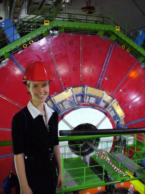 Erika DeBenedictis visits the particle accelerator at the European Laboratory for Particle Physics, outside Geneva, Switzerland. Credit: Erika DeBenedictis