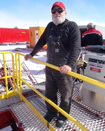 In the field last December, Frank Rack surveyed the mobile science labs that support his team's new hot-water drill. Credit: J. Raloff/Science News for Kids