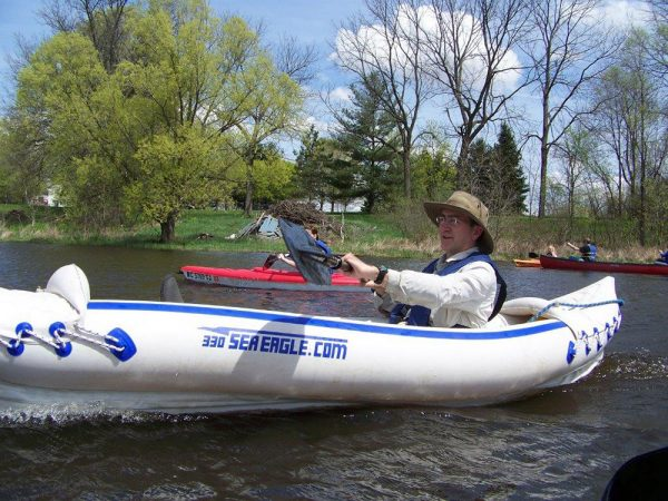Stephen Hamilton is an aquatic ecologist with Michigan State University. After an oil spill fouled the Kalamazoo River, Hamilton advised Enbridge Energy Partners and the U.S. Environmental Protection Agency about the cleanup. Here he is enjoying an afternoon kayak on the river, three years after the spill. Credit: Trudy E. Bell