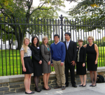 Society for Science & the Public President Elizabeth Marincola (right) poses with students who attended the White House Science Fair and are also alums of SSP science competitions.