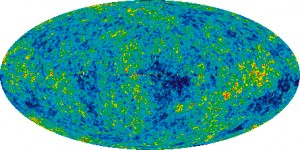 This image of the universe shows the radiation left over from the Big Bang, which occurred 13.7 billion years ago. Maps like these helped scientists determine the amount of dark energy and dark matter in the universe.