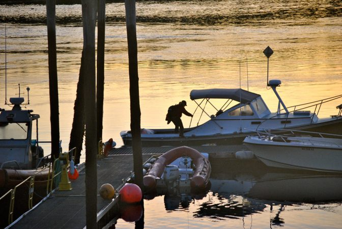 """Moira """"Moe"""" Brown boards the R/V Nereid at the dock in Lubec, Maine, at 6:00 a.m. in preparation for a long day of looking for right whales. Credit: Eric Wagner"""