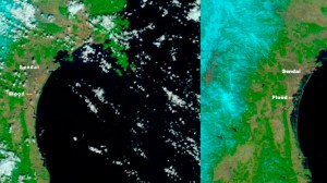 The image on the left was taken by NASA's Terra satellite on Feb. 26, 2011. The image on the right, which shows the extent of the flooding, was taken by NASA's Aqua satellite on March 13, 2011, days after an earthquake and tsunami devastated Japan. The orange-red dot near Sendai is likely a large fire.