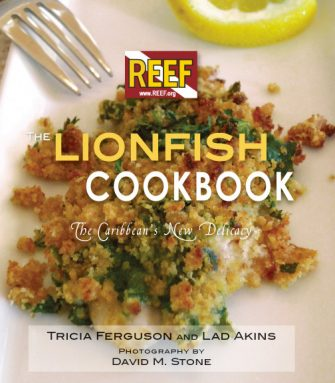 Divers are encouraged to spear any lionfish they find near corals. This has helped control the buildup of lionfish populations on reefs. But what to do with those fish? Eat them! Reef Environmental Education Foundation has compiled a book of yummy recipes. Credit: REEF