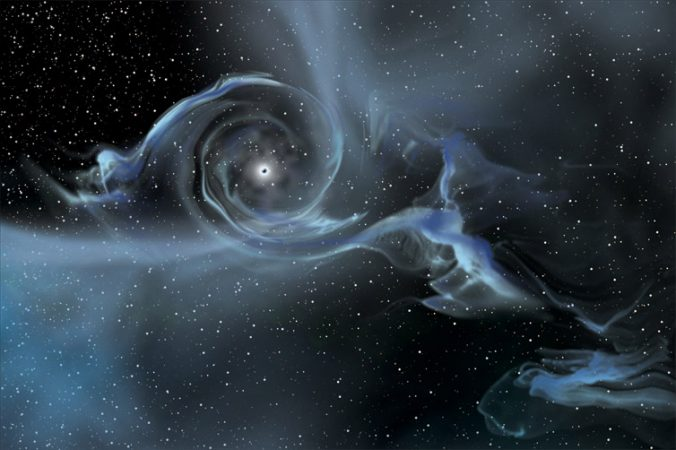 This illustration shows a black hole pulling in gas from a star that has wandered too close. Credit: NASA E/PO, Sonoma State University, Aurore Simonnet