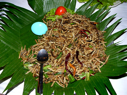 Buffet offering in Thailand of stir-fried grubs with chilis.