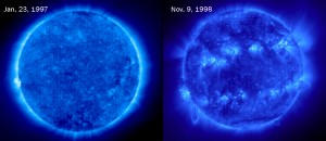 What a difference! These two images of the sun's outer atmosphere, or corona, were taken about 20 months apart. The sun is quiet in the picture at left, taken in January 1997. In the picture at right, taken in November 1998, the sun is more active. When the sun's activity increases, more sunspots become visible.