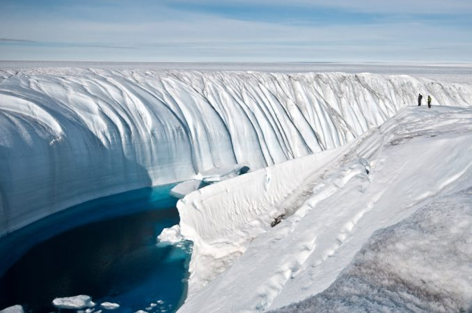 Meltwater on the Greenland ice sheet carved this canyon.Credit: Ian Joughin