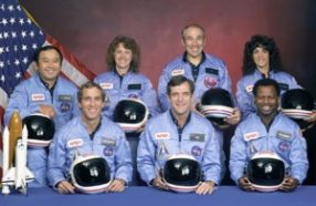 These seven astronauts died when the Challenger shuttle exploded just over a minute after liftoff in January 1986.