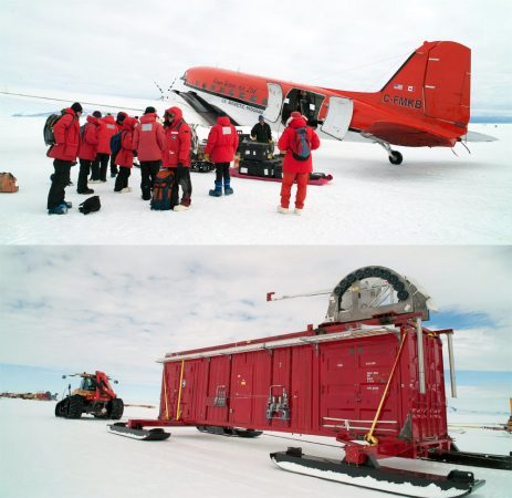 "This military cargo plane — an LC-130 Hercules, or ""Herc"" — flew some of the people and equipment out to Lake Whillans. The underground lake lies 1,000 kilometers inland from a base on the coast of Antarctica. (bottom) Over 450,000 kilograms (1 million pounds) of drilling machinery, fuel and scientific gear was towed on the ground to the lake site on massive metal sleds. This 1,000-kilometer (600 mile) ""traverse"" took two weeks. The sled seen here holds part of the drill. Credit: © JT Thomas"