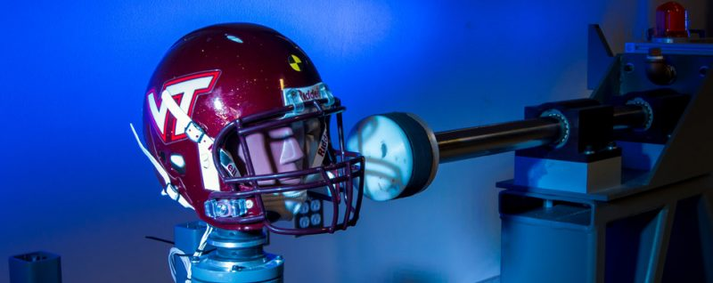 Scientists are studying the brain and helmets to better understand and prevent concussions. Researchers at Virginia Tech use this device to test how well helmets protect heads. Credit: Courtesy of Steven Rowson