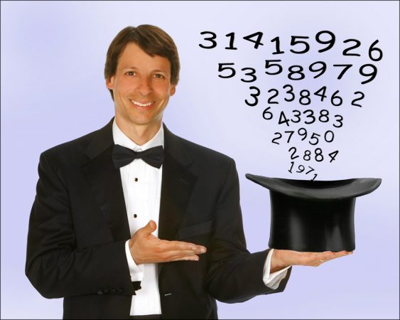 Instead of rabbits, Arthur Benjamin pulls the solutions to all types of math puzzles from his magician's hat. Credit: Photo by Richard Faverty