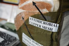 A close-up of Monroe's new bandage that relies on copper to kill germs. Credit: Patrick Thornton, SSP