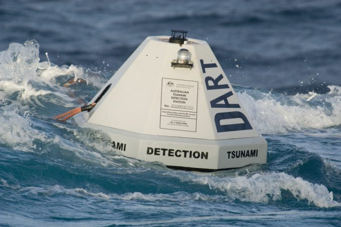 This buoy is part of the Deep-ocean Assessment and Reporting of Tsunami system. After an undersea earthquake strikes, buoys like this one record and transmit measurements of any tsunami waves. Credit: NOAA