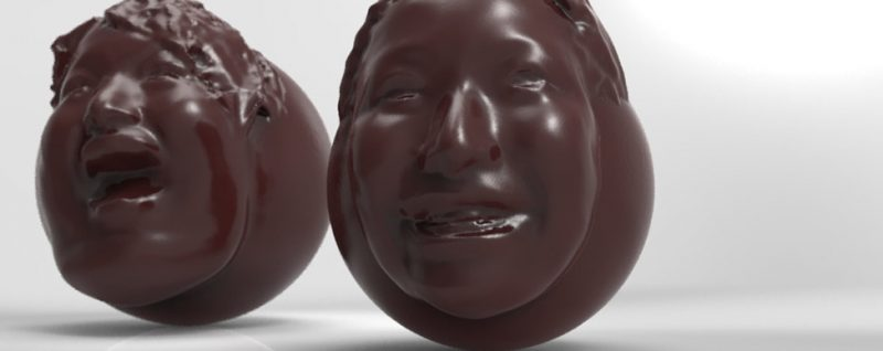 Caption: For Valentine's Day this year, a Japanese company used a 3-D printer to produce chocolate copies of people's faces. Credit: FabCafe/Think 3D/K's Design Lab