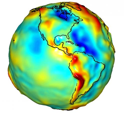 NASA's GRACE satellite can track water's movement around the world by measuring changes in water's gravitational pull. The satellite's data can be used to produce three-dimensional maps like this one. Red bulges show where water has accumulated. Dark blue dips indicate where there is comparatively less water.  Credit: University of Texas Center for Space Research, NASA