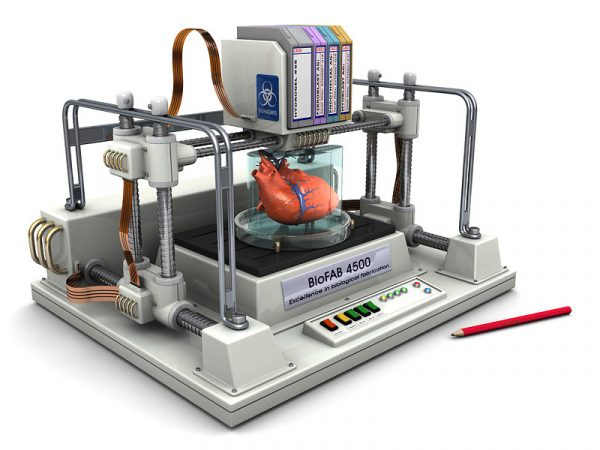 In this illustration, a 3-D bioprinter prints a new heart. The cartridges include the different types of cells needed to build the organ. Credit: Christopher Barnatt
