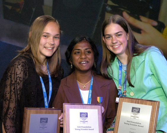 Meredith MacGregor, at right, celebrates alongside two other award-winning young scientists at the 2006 Intel International Science and Engineering Fair. Meredith won a $50,000 scholarship for her research. Credit: Intel Corp