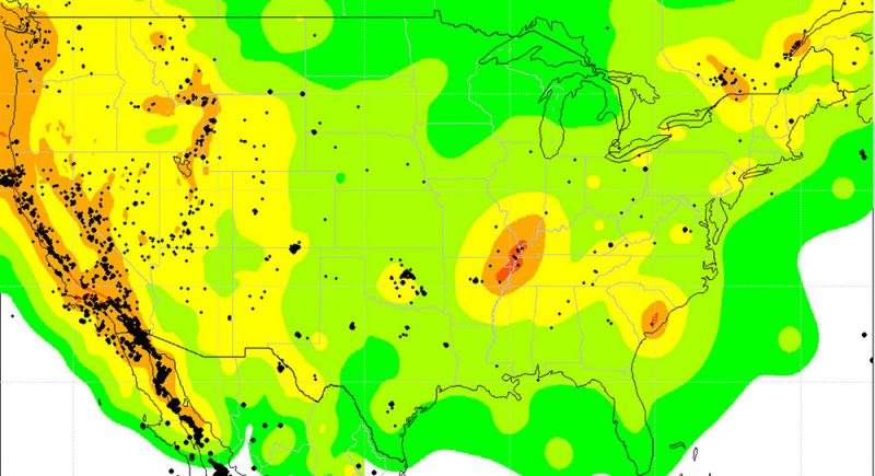 Red and orange areas in this U.S. map show places with the highest risk from naturally occurring earthquakes. The black dots on the map show where earthquakes struck between 2009 and 2012. Green and yellow areas have a lower risk from quakes. Credit: Science/AAAS