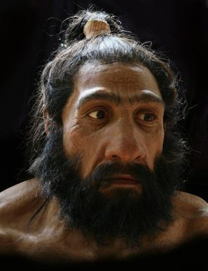 Artist John Gurche created this bust showing what a Neandertal may have looked like.