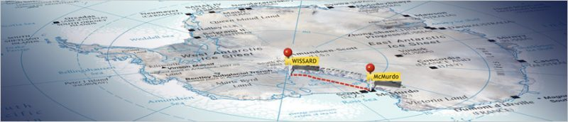 "This map of Antarctica shows where the WISSARD program — to drill into Lake Whillans — is located. McMurdo is the settlement where most U.S. scientists stay in Antarctica when they aren't in tent communities on ""the ice."" Credit: WISSARD/NSF"
