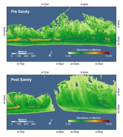 These before-and-after LIDAR images show Hurricane Sandy damage to Fire Island, N.Y. The after image shows a newly opened breach and highlights changes to the elevation of the island. In both images, orange and red colors indicate higher elevations while yellow and green colors indicate lower elevations. Credit: USGS