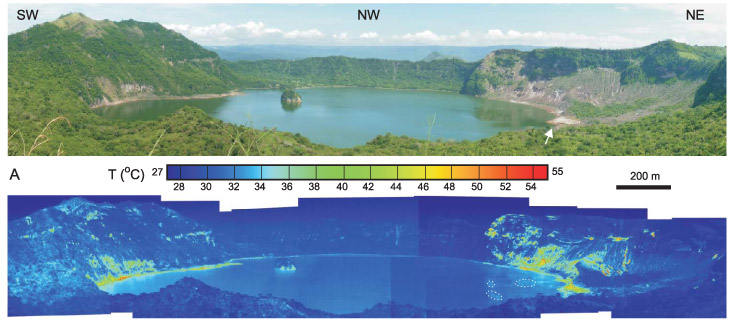 Taal volcano and its crater lake seen in visible light (top panoramic) and in false color revealed by a thermal imaging camera (bottom panoramic). Some of the thermal hot spots (shades of green through red) correspond to exposed rock and sand, which typically heat up more quickly in the sun than plants do. But some of the hot spots along the lakeshore point to the lake's hot springs. Credit: Cardenas et al., Geophysical Research Letters, 2012