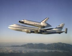 NASA customized this Boeing 747 to make it a ferry for space shuttles. Here, the space shuttle Atlantis gets a lift from California (where it landed) to its home at Kennedy Space Center in Florida in 1998.