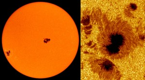 The clusters of sunspots at left may look tiny, but they're the size of Jupiter. At right, other sunspots are revealed in closeup.