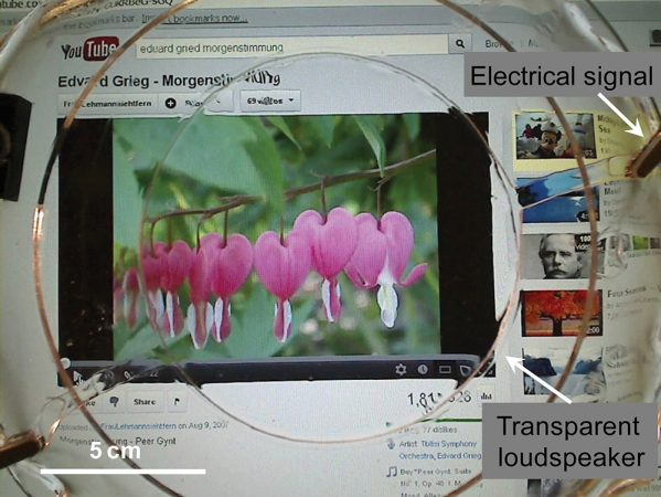 Scientists have built a see-through, elastic loudspeaker, shown here connected to a device playing a YouTube video. Courtesy of Christoph Keplinger and Jeong-Yun Sun