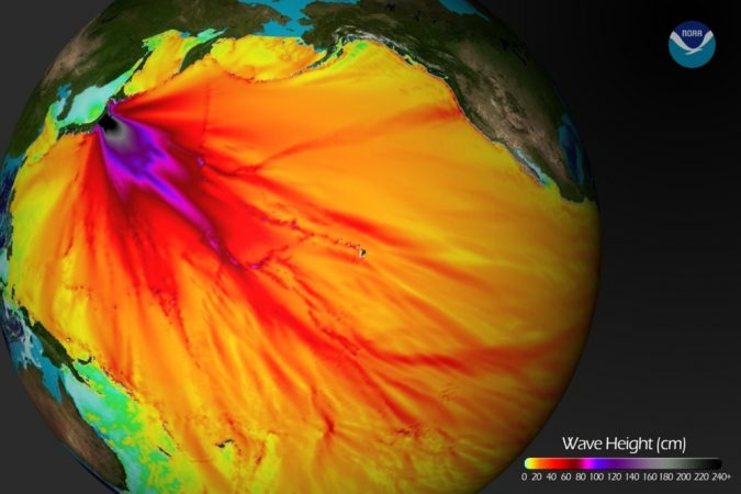 The tsunami that hit Japan in March 2011 sent powerful waves racing south and east across the Pacific Ocean too. Here, large waves (more than 2.4 meters, or 8 feet, tall) appear in black. Waves more than 30 centimeters, or 12 inches, tall appear in red. Those waves crossed the entire Pacific. Credit: NOAA