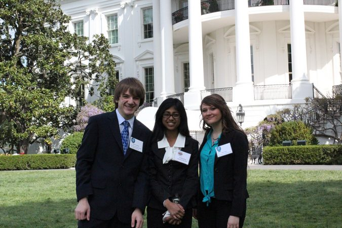 Jack Andraka, Jessika Baral and Sara Volz (left to right) were three of the 14 alumni from SSP science competitions invited to attend the third White House Science Fair on April 22. Credit: SSP