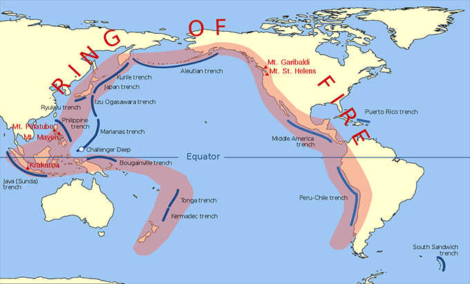 a map showing where the ring of fire is located