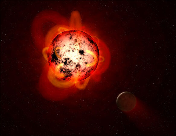 an illustration of a red dwarf and a planet
