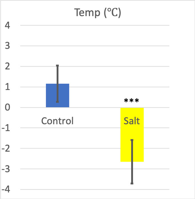 a graph showing differences in ice temperature