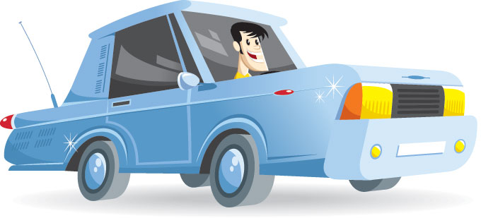 an illustration of a man driving a blue car