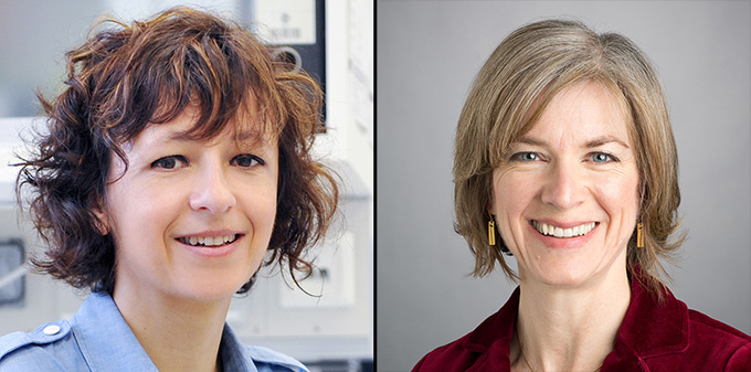 Emmanuelle Charpentier (left) and Jennifer Doudna (right)