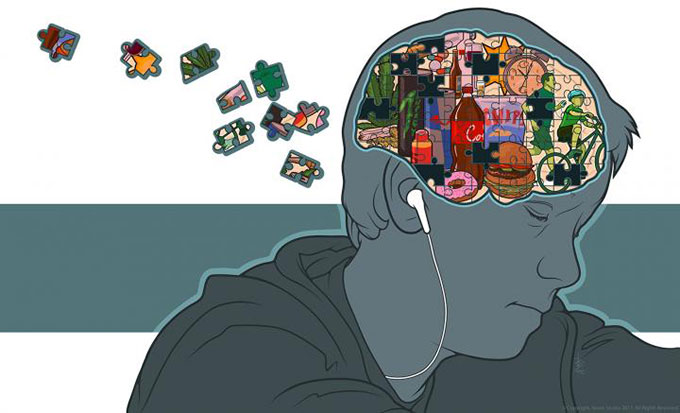 an illustration showing junk food in a kid's brain