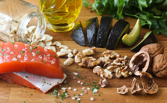 an array of foods rich in Omega-3s