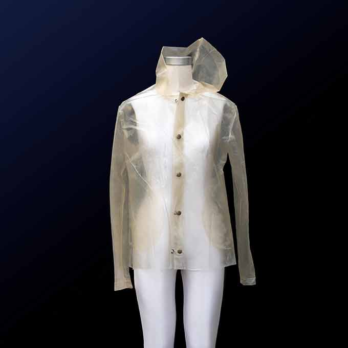 a picture of a clear raincoat made from algae-based fabric