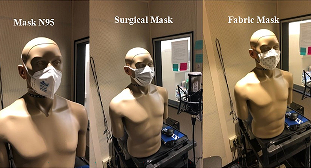 a composite image showing the machine used to test sound quality through different facial masks