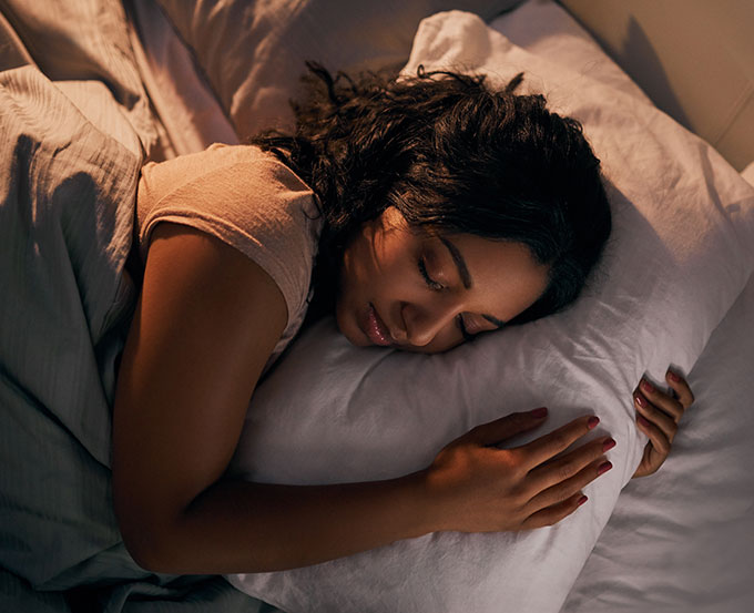 a photo of a woman sleeping